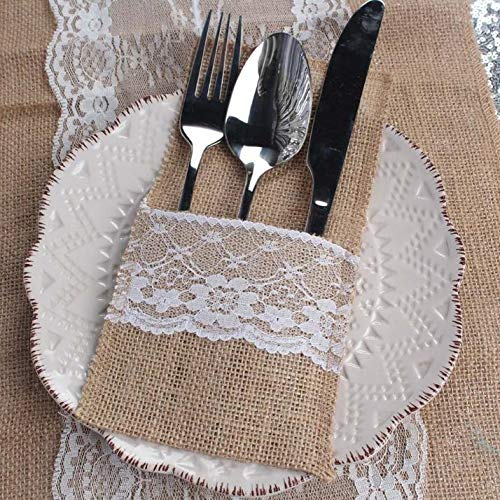 - Wedding Decoration - 500pcs Burlap Lace Wedding Tableware Pouch Cutlery Holder Decoration Favor Rustic Decor Vintage - Fabric Camo Stand Bows Crystals Packages Bulk Holder Tray Do