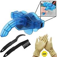 Fahrrad Kettenreiniger mit 2 Paar Latexhandschuhe, Reinigung Scrubber Pinsel Werkzeug mit Ritzelbürste für Alle Arten von Fahrrad Kettenreinigung