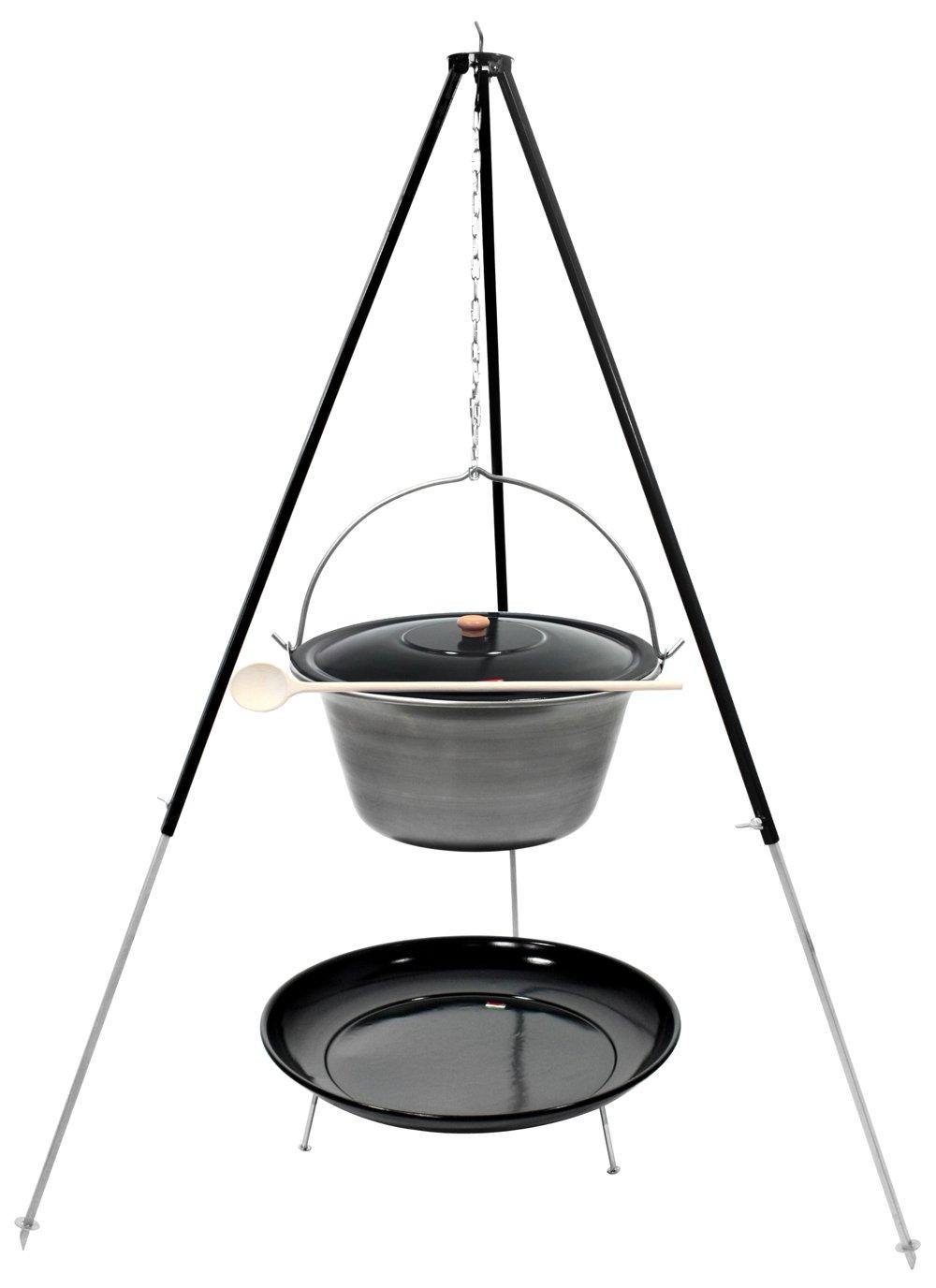 Gulaschkessel Dreibein Set (22 Liter Topf aus Eisen + Deckel + 1,80 m Dreibein + Feuerschale emailliert)
