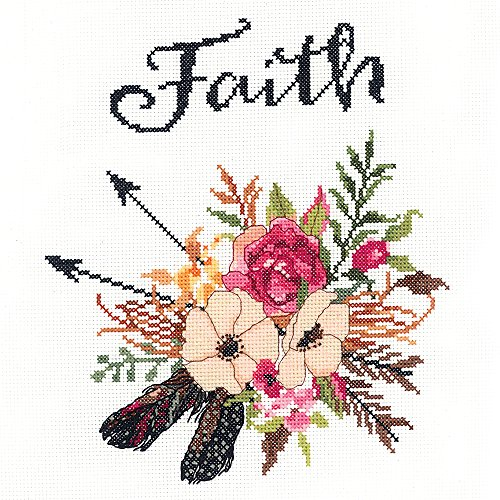 "Janlynn 182-0410""Watercolor Flowers Faith Counted Cross Stit"