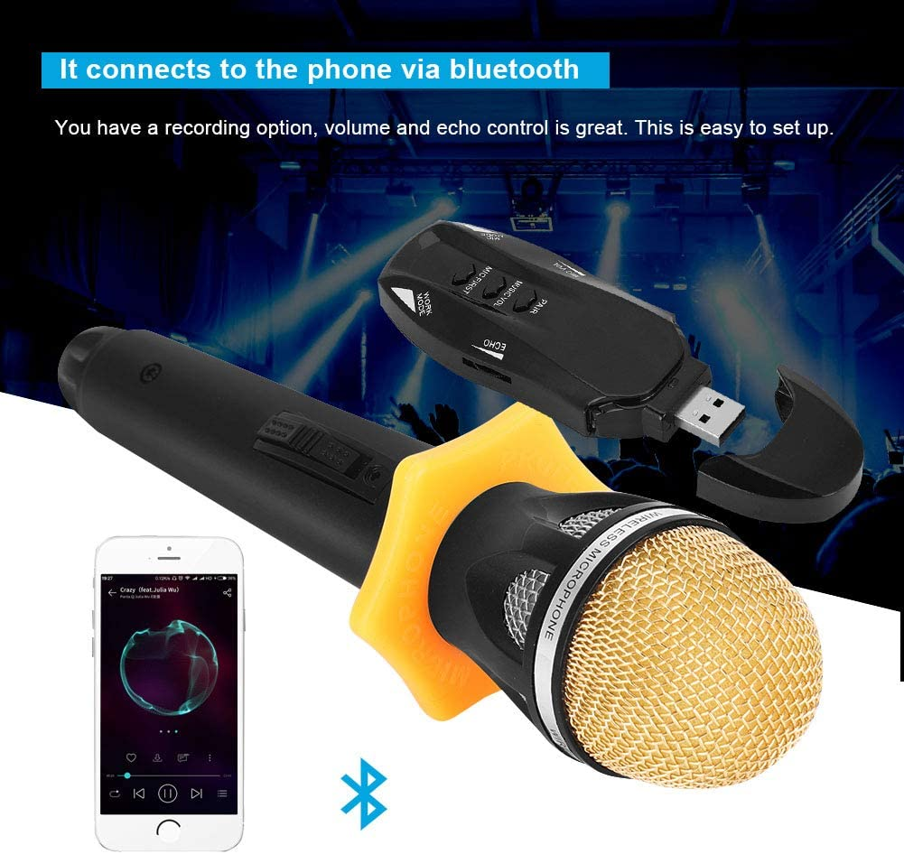 Rechargeable Bluetooth Microphone Perfect for Familiy KTV Stage etc. Speech Audio Cable and USB Charging Karaoke Singing Wedding Handheld Wireless Microphone System with Receptor