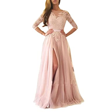 ABaowedding Womens Sweetheart Lace Appliques Split Tulle Long Evening Party Prom Dresses US 2 Pink