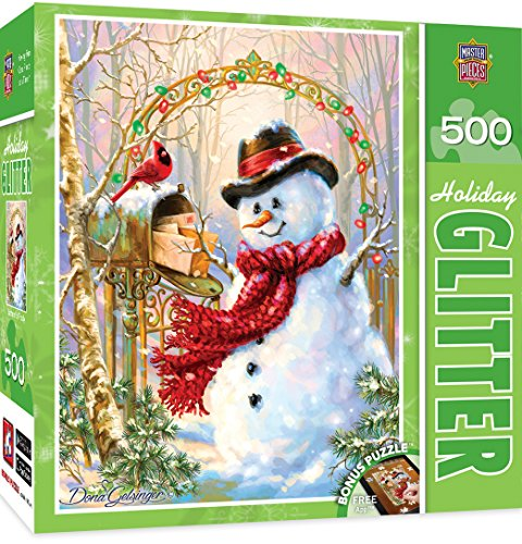 MasterPieces Holiday Glitter Letters to Frosty - Frosty the Snowman 500 Piece Jigsaw Puzzle by Dona Gelsinger ()