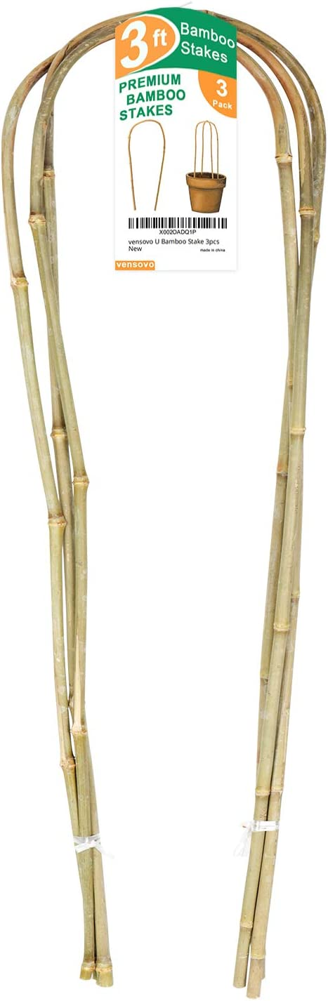 vensovo 3pcs U-Hoop Bamboo Stakes - 3 Ft Natural Bamboo Plant Stick, Bamboo Stakes Support Climbing for Tomato, Bean, Trees