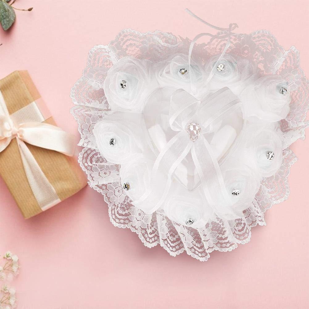 Porte-Coussin en Forme de Coeur Romantique pour Accessoires de d/écoration de Noce Blanc Simlug Oreiller pour Mariage