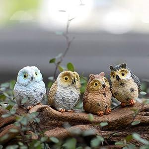 Buytra 4-Piece Miniature Fairy Garden Owl Ornament Dollhouse Plant Pot DIY Decor Home Decoration