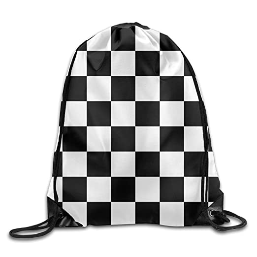 c3db21010e6a Image Unavailable. Image not available for. Color  Black White Checkered  Pattern3D Print Drawstring Backpack Rucksack Small ...