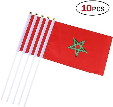 Banderas Pequeñas,Banderas de Mano,Bandera de Marruecos con 14 x ...