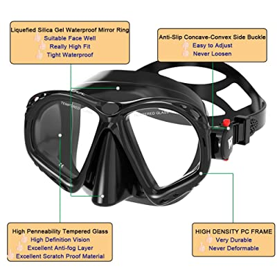 WACOOL Snorkeling Snorkel Diving Scuba Package Set Gear for Kids Youth Junior Anti-Fog Coated Glass with Silicon Mouth Piece Purge Valve and Anti-Splash