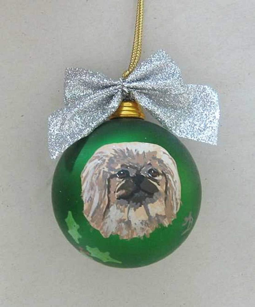 Artist-Painted-PEKINGESE-Shatter-Proof-2-12-Round-Ball-Xmas-Ornament