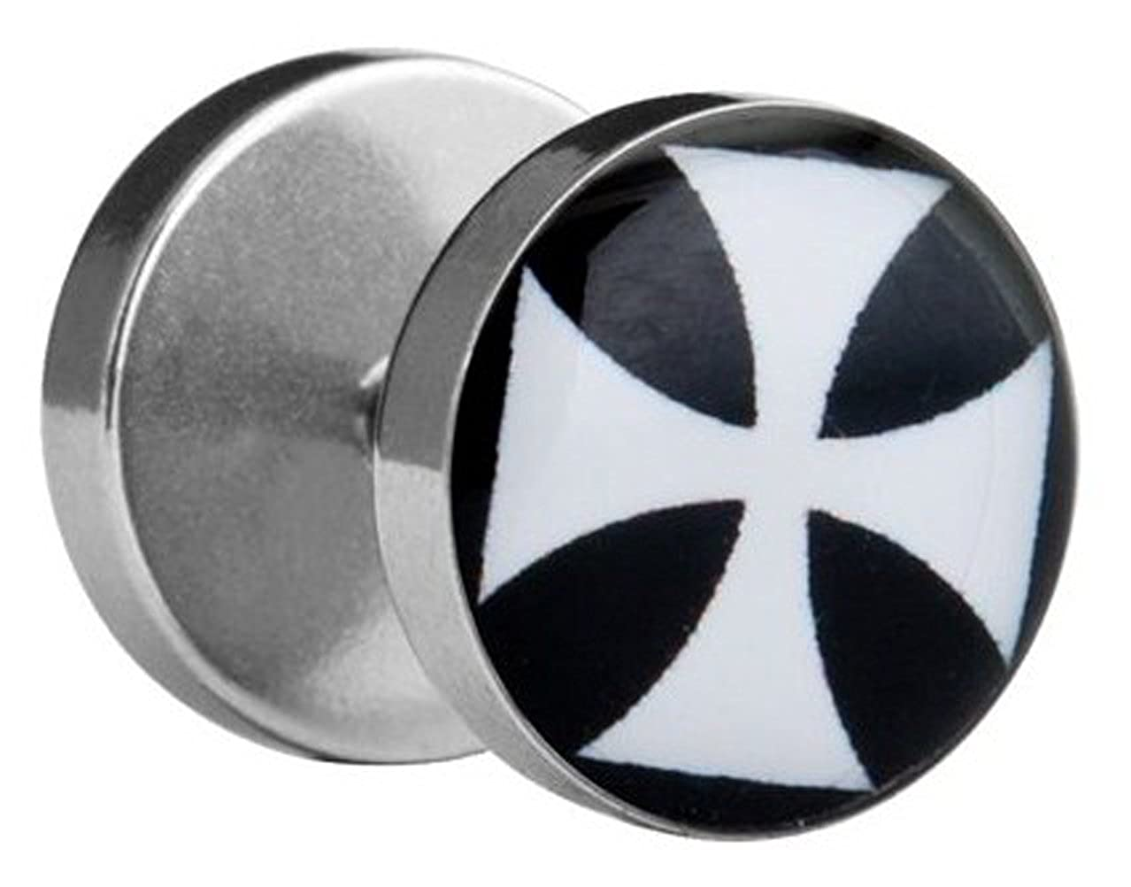 2 x 10 mm Fake Plug Tunnel Ohrstecker Eisernes Kreuz EK Fakeplugs Schwarz Weiß