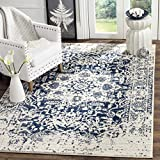 Safavieh Madison Collection MAD603D Cream and Navy Distressed Medallion Square Area Rug (9′ Square)