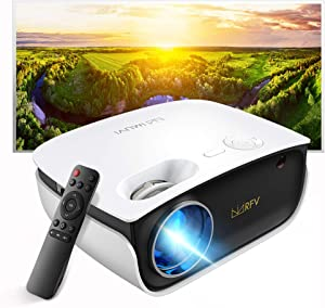 Mini Projector-2020 Upgraded Portable Video Projector with Genuine HDCP Key for Outdoor Movie/Home Theater/Video Game, Support Full HD 1080P, Compatible with Netflix/TV Stick/Phone/Laptop/PC/HDMI/USB