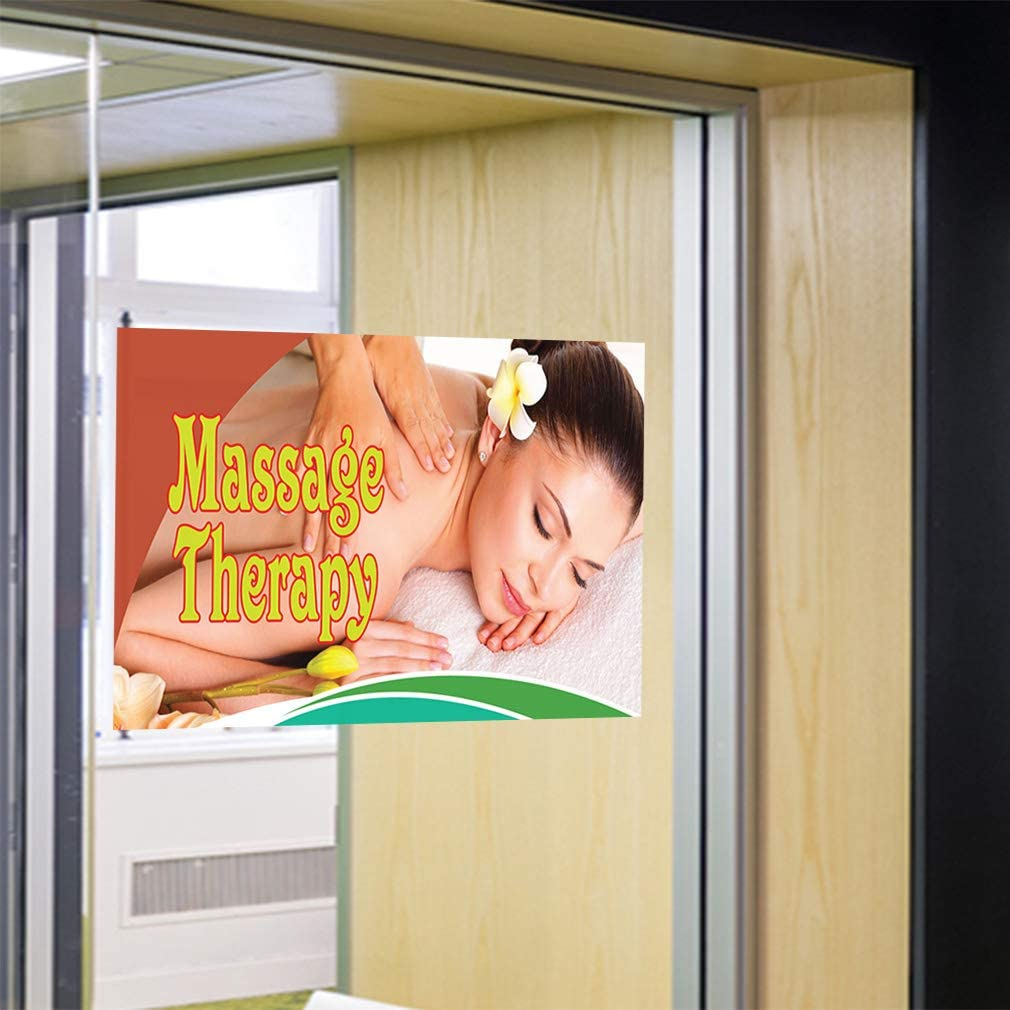 Set of 2 Decal Sticker Multiple Sizes Massage Therapy #2 Business Rub Outdoor Store Sign Yellow 54inx36in