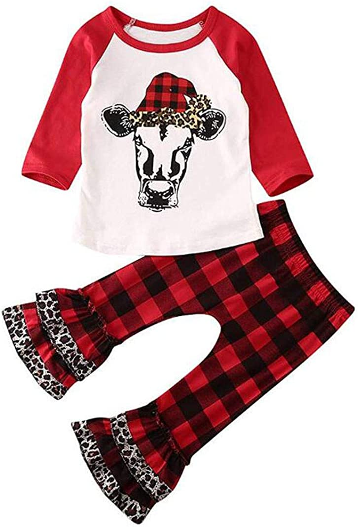 FELZ Conjunto Bebe Recien Nacido Bebé Niño Niña Árbol de Navidad Letra Camiseta Tops Conjunto de Pantalones con Volantes Disfraz Navidad Bebe