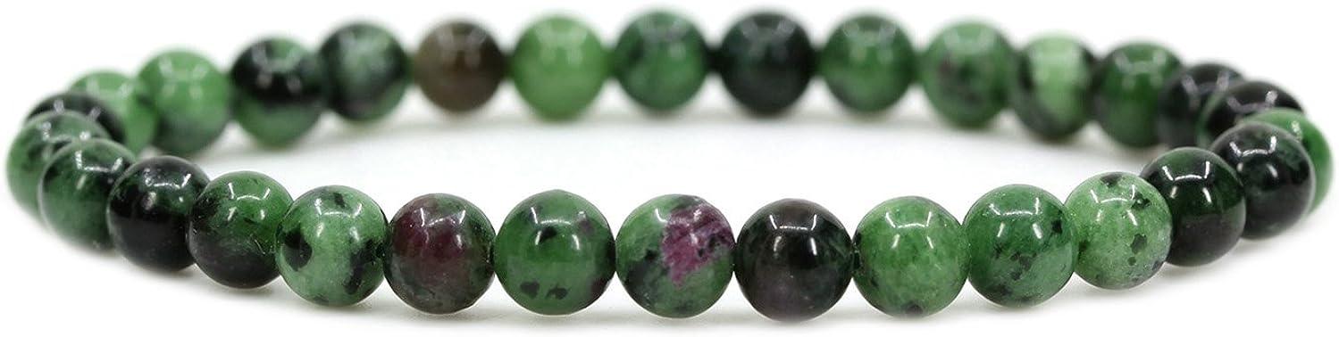 Amandastone - Pulsera elástica de piedras semipreciosas (cuentas circulares de 6 mm, cordel elástico, unisex, 17,8 cm).