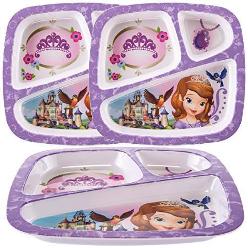 Zak (3 Pack) Disney Princess Sofia Character 3-Section Divided Plastic Kids Party (Princess Divided Plate)