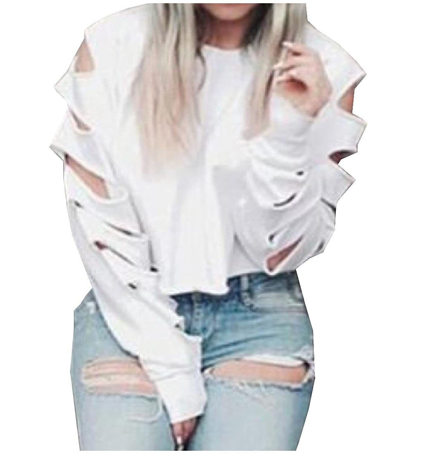 Abetteric Women's Crop Hipster Ripped-Holes Long Sleeve Sweatshirts Tops