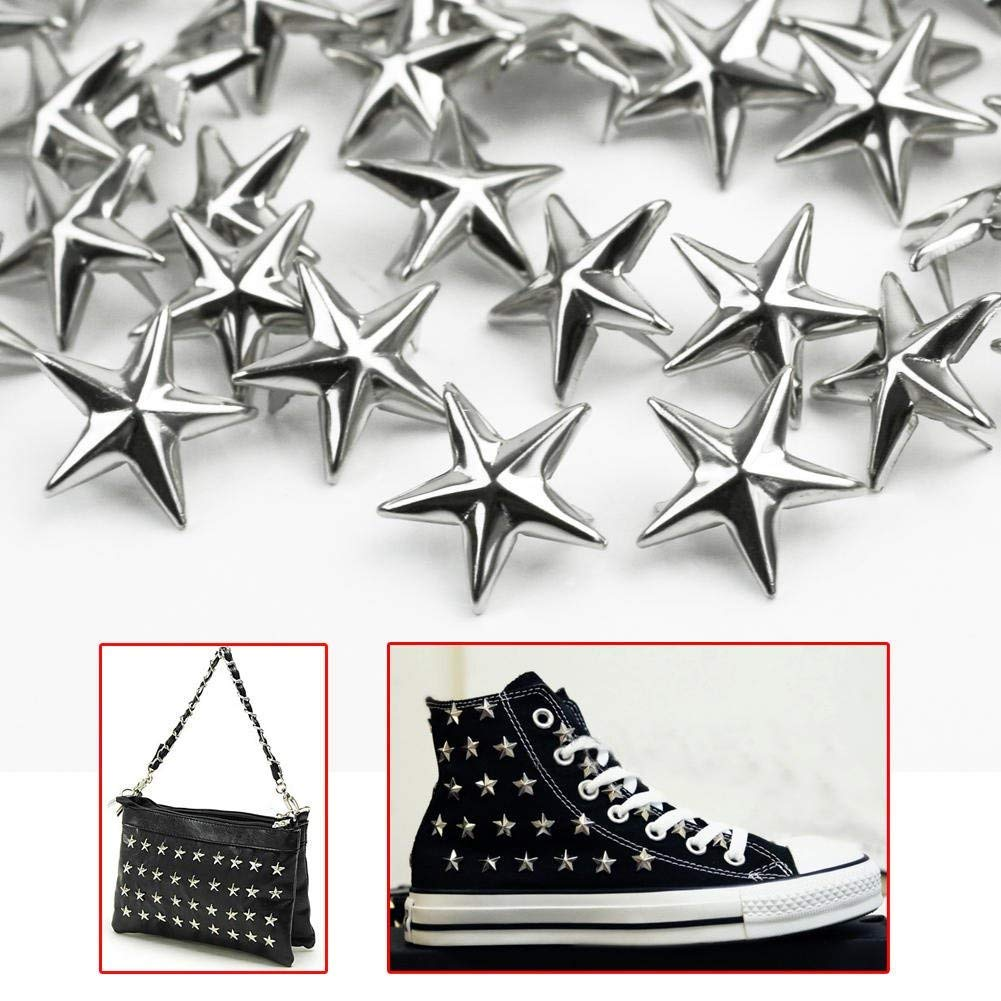 100 pcs 15mm Silver Star Shape Spikes Studs Spot Rivets Bag Shoes Clothes Bracelet Leather Craft New