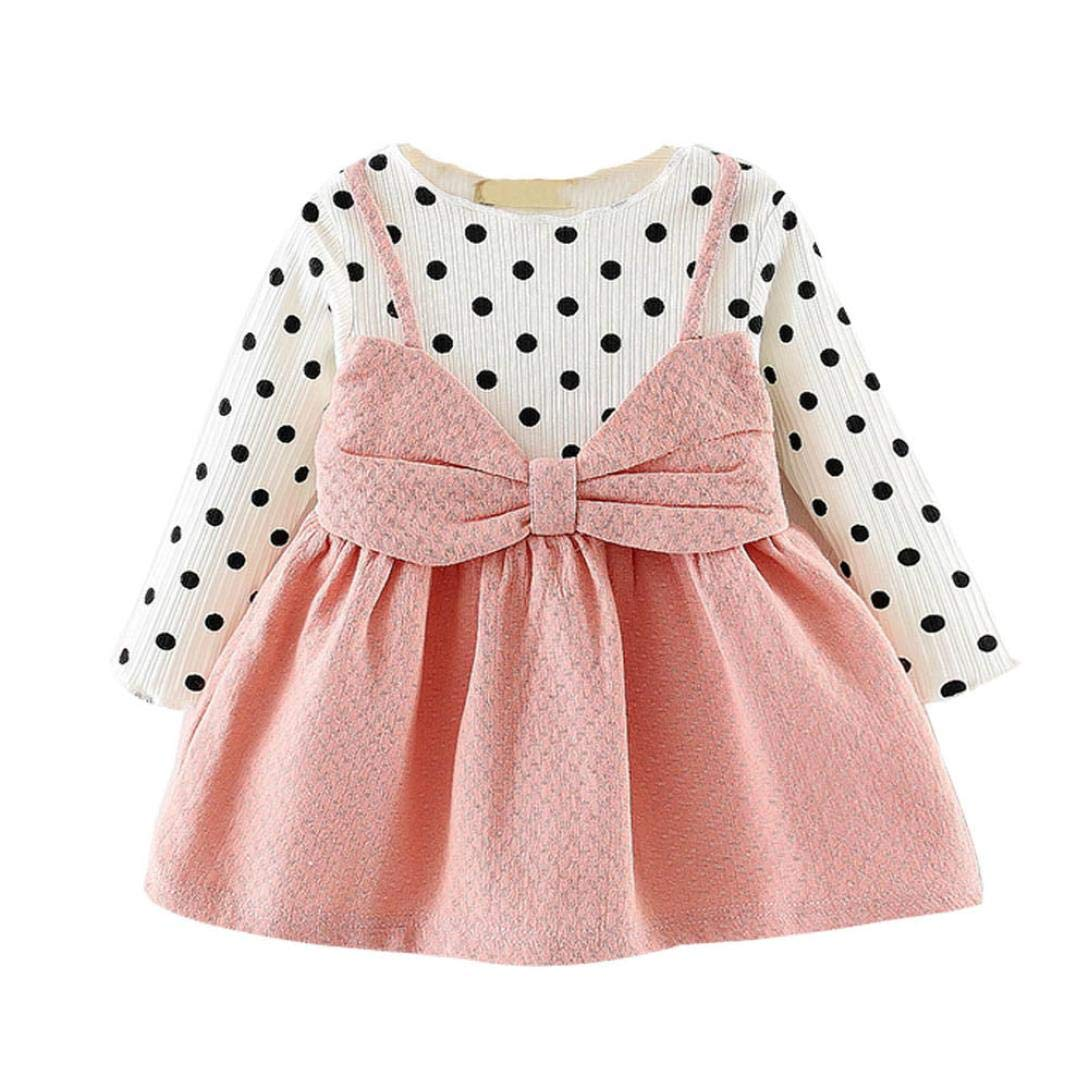 e981552fe Felicy Newborn Infant Baby Girl Long Sleeve Dot Bowknot Dresses ...