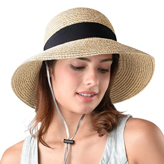 4331885c946 Image Unavailable. Image not available for. Color  FURTALK Womens Beach Sun  Straw Hat UV UPF50 Travel Foldable Brim Summer ...