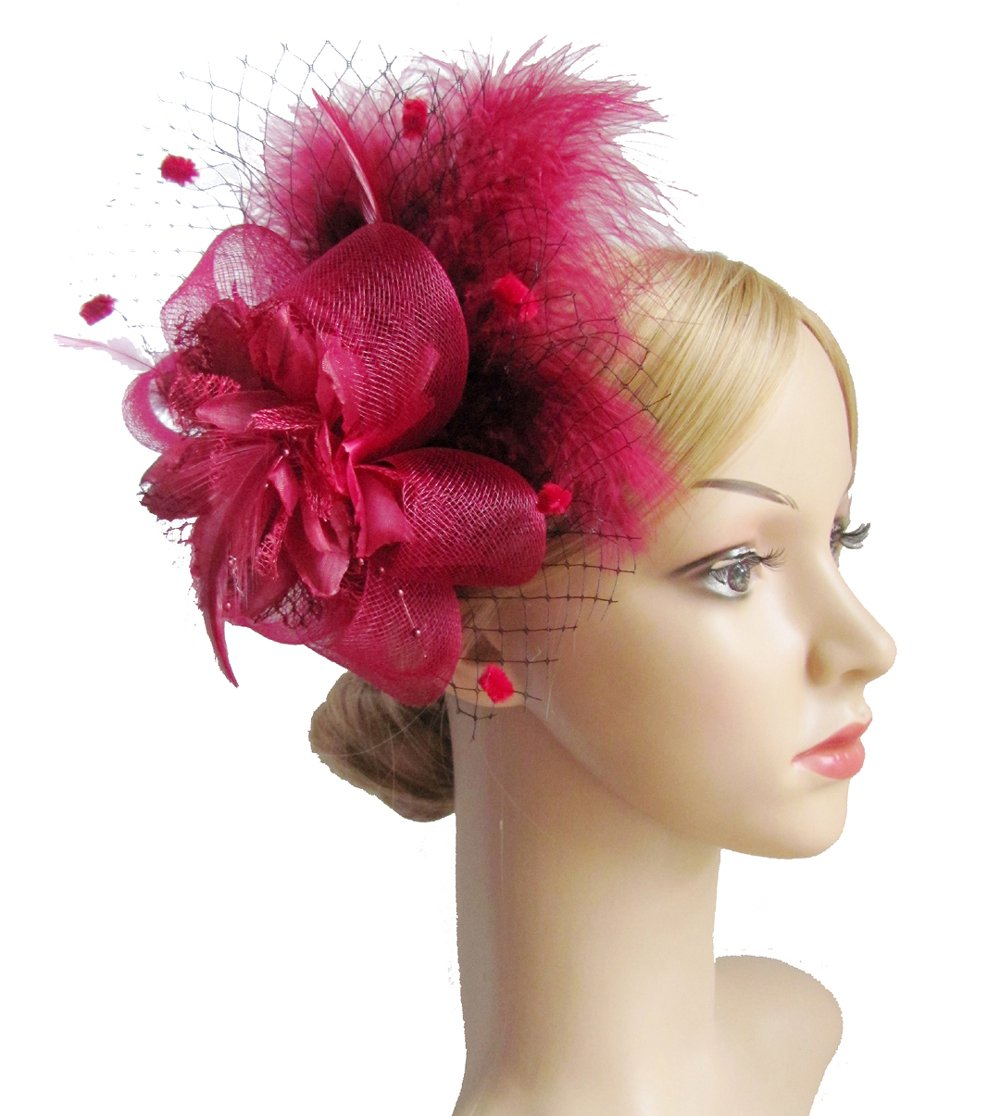Kathyclassic Women's Fascinators Hat Hair Clip Feather Wedding Headware Bridal 1920s Headpiece