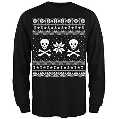 old glory skull crossbones ugly christmas sweater black long sleeve small - Black Ugly Christmas Sweater