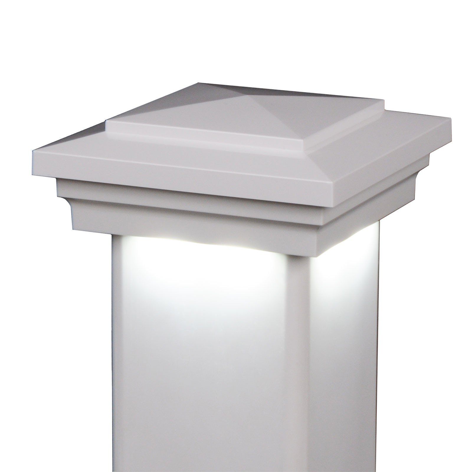 America's Fence Store 4'' x 4'' White Cape May Downward Low Voltage LED Light Post Cap - 6 Pack by LMT Mercer Group, Inc
