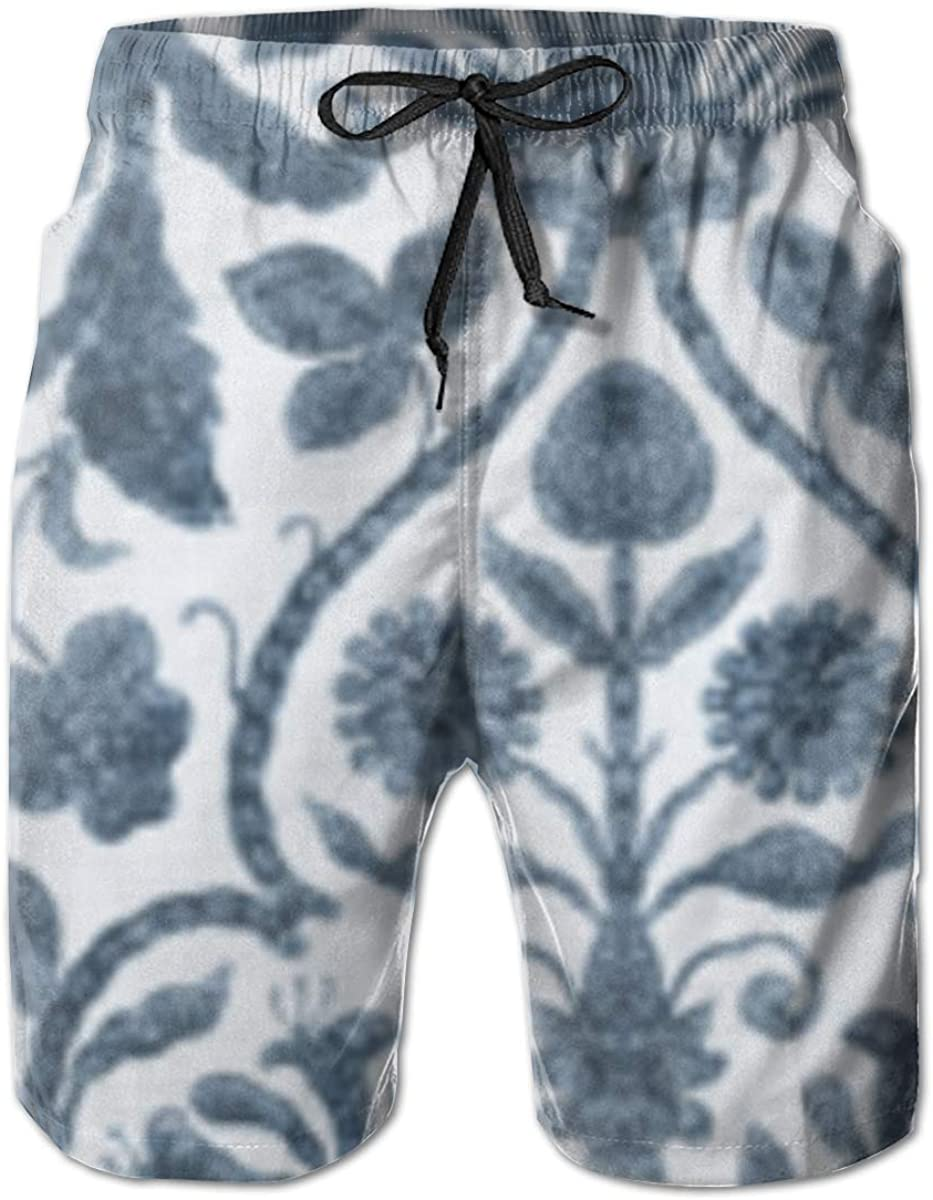 Mens Board Shorts Provence Toile in Blue and White Holiday Swim Trunks Mesh Lining