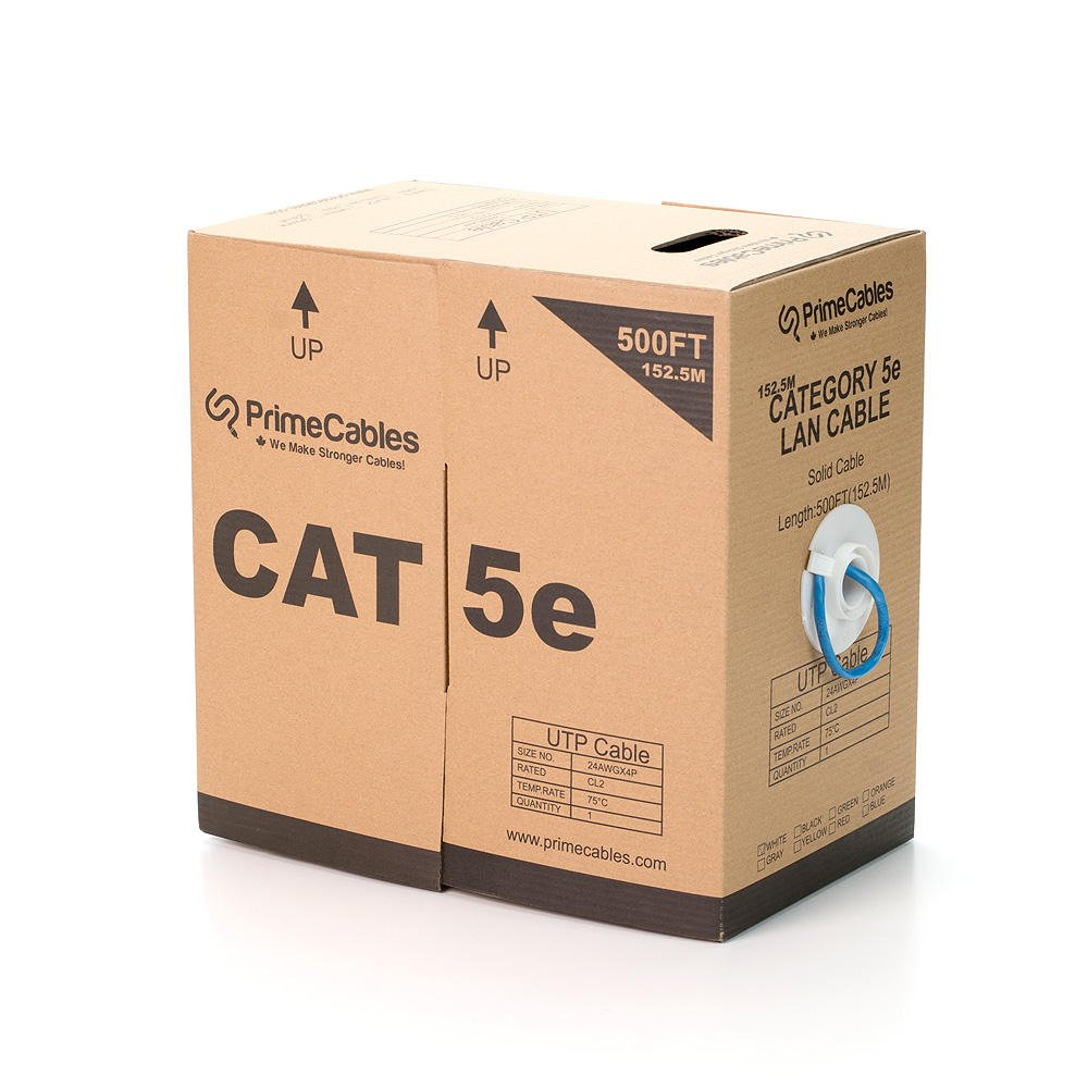 1000FT 24AWG*4P Cat5e UTP Solid Ethernet Cable, In-Wall Rated (CL2) - PrimeCables® (1000FT Blue)