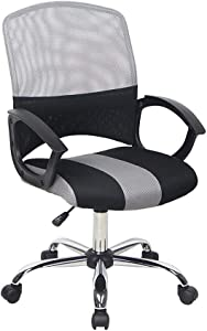 Ergonomic Office Desk Chair Adjustable Mesh Swivel Home Task Chairs with Padded Seat and Armrest (Black/Gray)