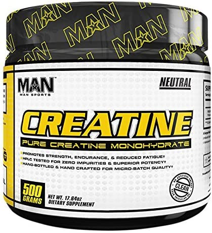 Man Sports Creatine Monohydrate Powder. Strength Building Supplement to Boost Athletic Performance 100 Servings
