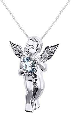 Heart and Angel Wings Necklace I Sterling Silver I Zircon and Onyx Stone I Zirconia Heart Guardian Angel I Handmade I Mother/'s Day Gift