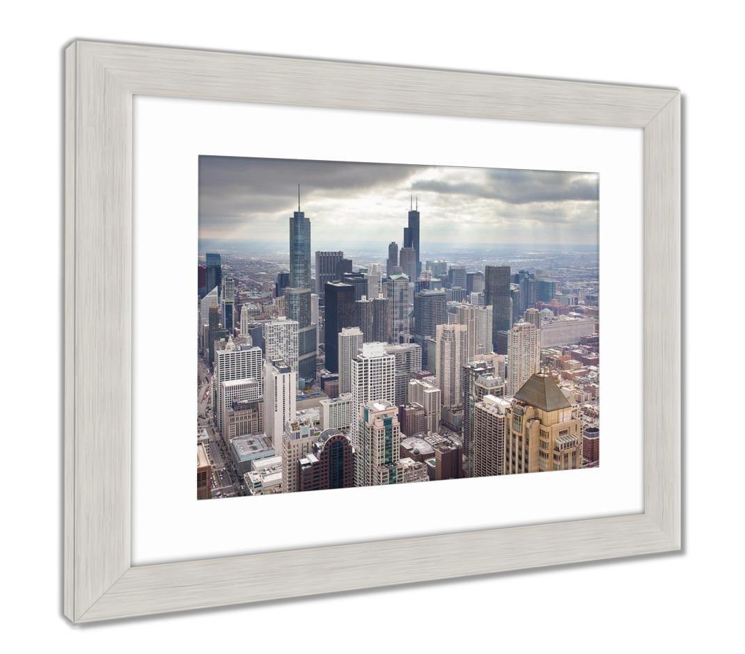Amazon Com Ashley Framed Prints Chicago Skyline On Stormy Winters
