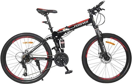 KOSGK Bicicleta MontañA Plegable Bicicleta Ciudad 24 Velocidades ...