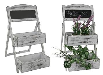 Blumenregal im Shabby Chic Look - weiße Pflanztreppe mit 2 Böden und ...