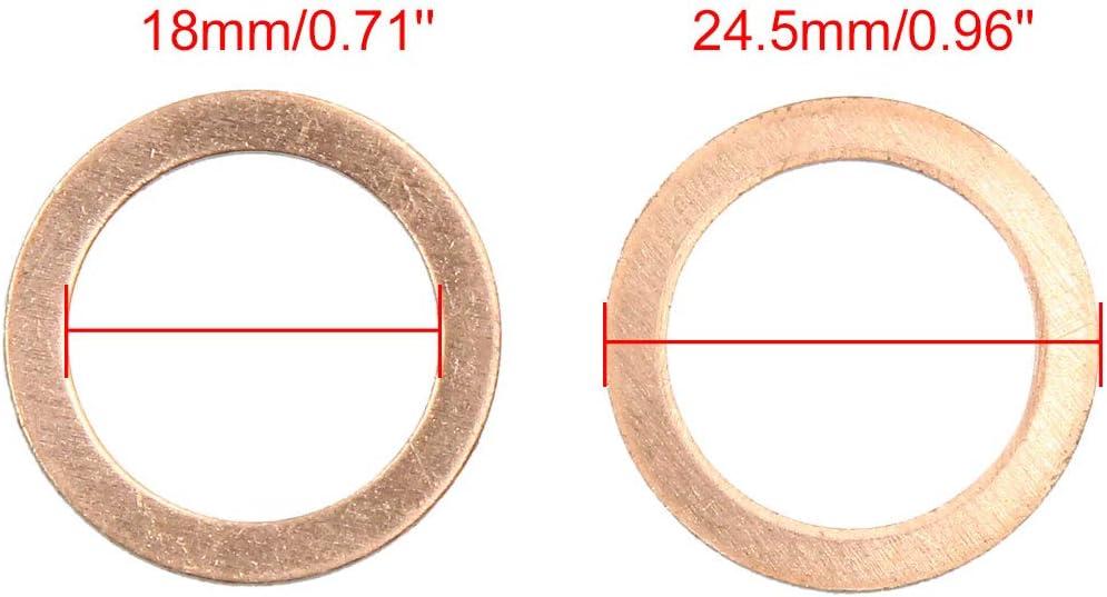 Lot de 30 Joints d/étanch/éit/é Plats en cuivre Autohaux 14 x 18 mm de diam/ètre