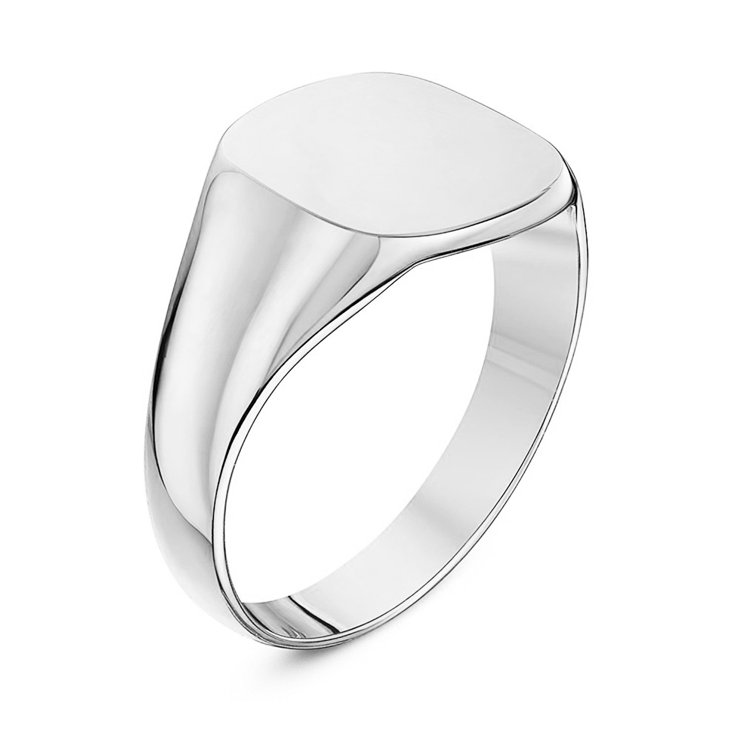 Unisex Sterling Silver Cushion Shape Heavy Weight Polished Signet Ring 12x12mm (6) by LANDA JEWEL (Image #3)