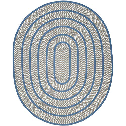 Braided Collection BRD401A Hand Woven Ivory and Blue Oval Area Rug (8' x 10' Oval), Home Decor Area Rugs Runner for Living Room Dining Room ()