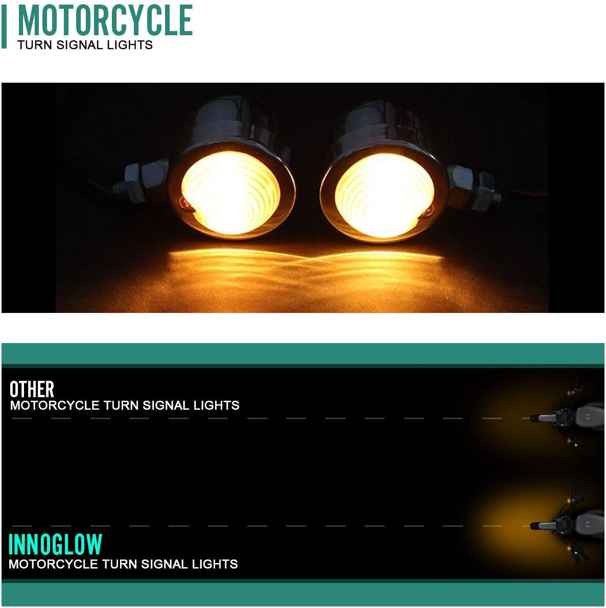INNOGLOW Motorcycle Turn Signals Light 2 Pcs Aftermarket Incandescent Blinkers 3 Wire Chrome Bulb for Harley Honda Yamaha Suzuki Kawasaki