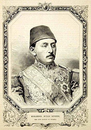 1876 Wood Engraving Murad V Mohammed Murad Effendi Sultan Ottoman Empire TWW1 - Original In-Text Wood - Sultan Mohammed