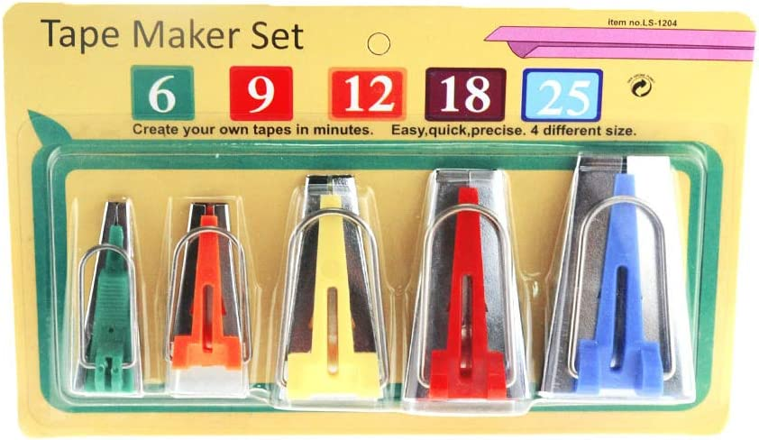 Sewing Bias Tape Makers Set 6MM 9MM 12MM 18MM 25MM 5 Sizes DIY Quilting Tools Kit