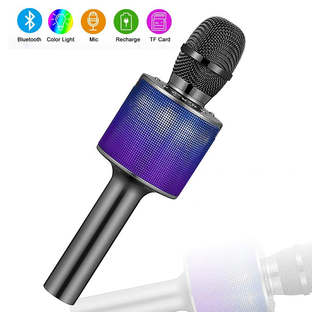 Rsiosle Wireless Karaoke Bluetooth Microphone Speaker with LED Lights, 3-in-1 Portable Hand Mic for Girl Boy Child Home Party KTV Outdoor Compatible with Smartphone and PC (Color : Black)