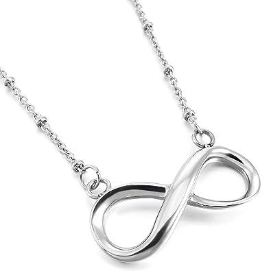 MunkiMix Acero Inoxidable Colgante Collar El Tono De Plata Infinito Infinity Símbolo Amor Love 19 Pulgada Cadena Mujer,Cadena