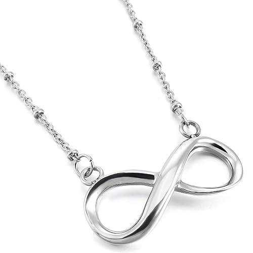 a219f55e0c64 MunkiMix Edelstahl Anhänger Halskette Silber Ton Infinity Unendlichkeit  Zeichen Symbol Lieben 19 Zoll Kette Damen