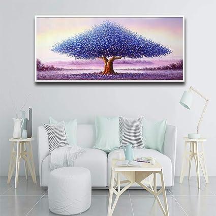 Mooie Moderne Roze Geluk Boom Olieverf Poster Muur Print Foto Woonkamer Wanddecoratie Schilderij Frameloze Schilderij 60x120cm Amazon Nl