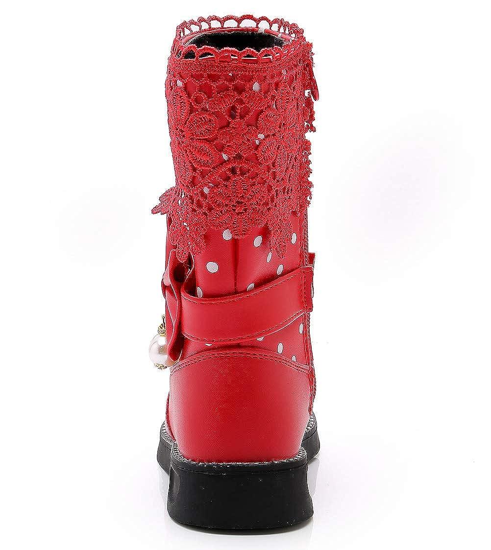 DADAWEN Girls Waterproof Lace Bowknot Side Zipper Fur Winter Boots Toddler//Little Kid//Big Kid