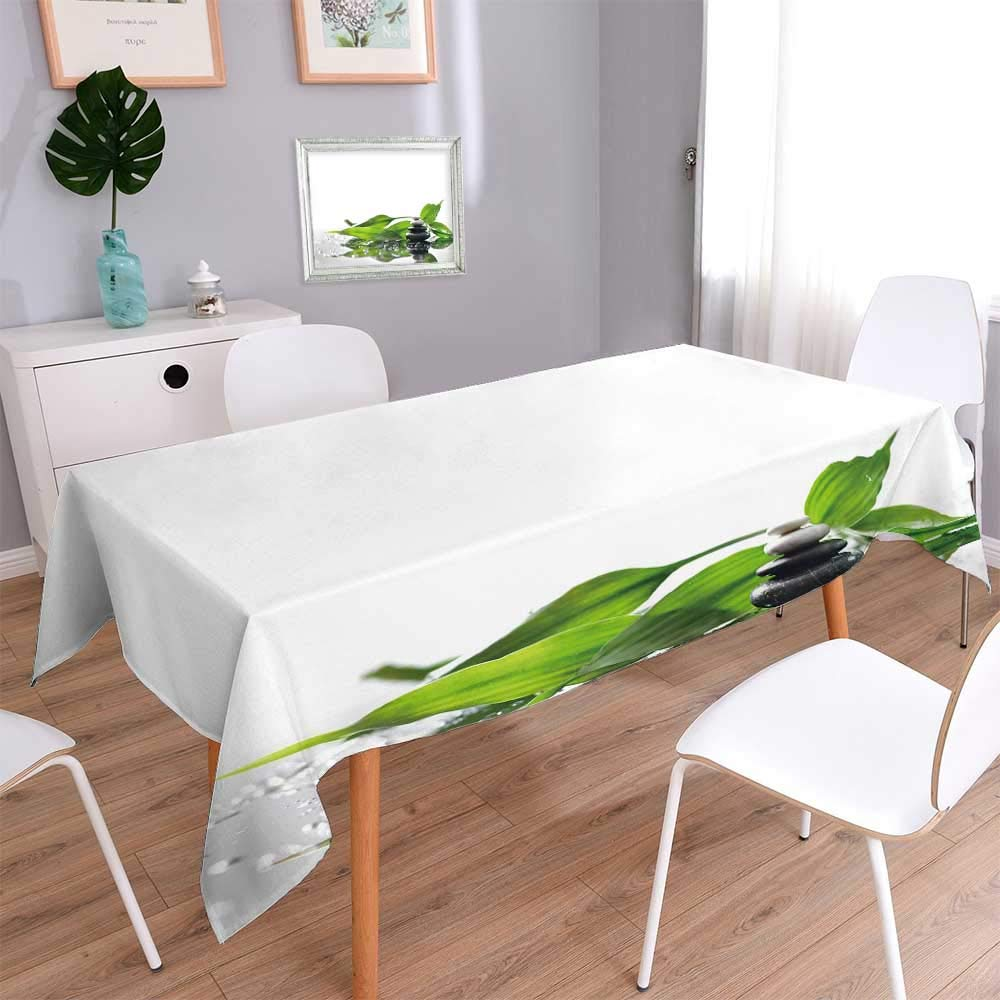 PINAFORE HOME Decorative Jacquard Rectangle Tablecloth of a spa with Stones and a sprig of Green Bamboo Resistant and Waterproof Tablecloths/Rectangle, 60 x 104 Inch by PINAFORE HOME (Image #1)