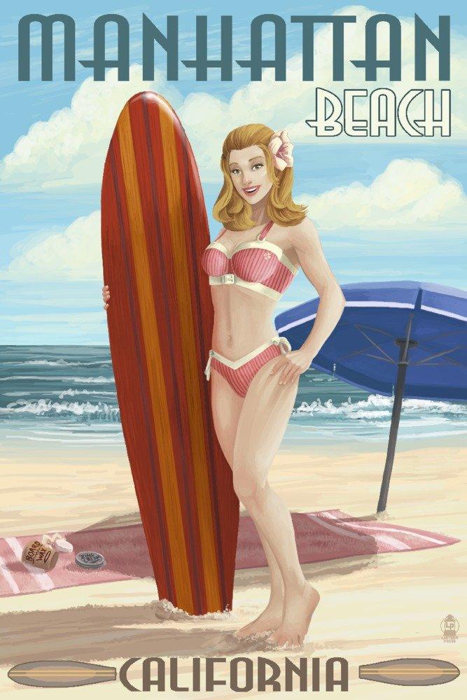 Manhattanビーチサーファー、カリフォルニア – Pinup Girl 10 x 15 Wood Sign LANT-43411-10x15W B07368T7S3 10 x 15 Wood Sign10 x 15 Wood Sign