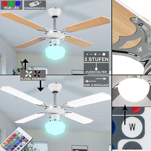 Ventilador de techo cambio de color de luz regulable en el ...